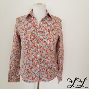 CAbi Blouse Top Pink Red Floral Stretch Cotton